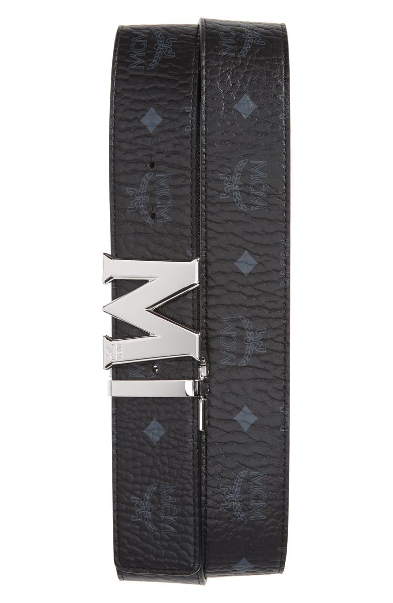 MCM Reversible Signature Leather Belt, Main, color, 001