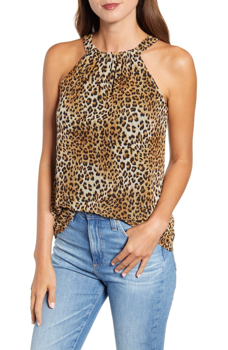 LOVEAPPELLA Leopard Print Mesh Tank, Main, color, BROWN