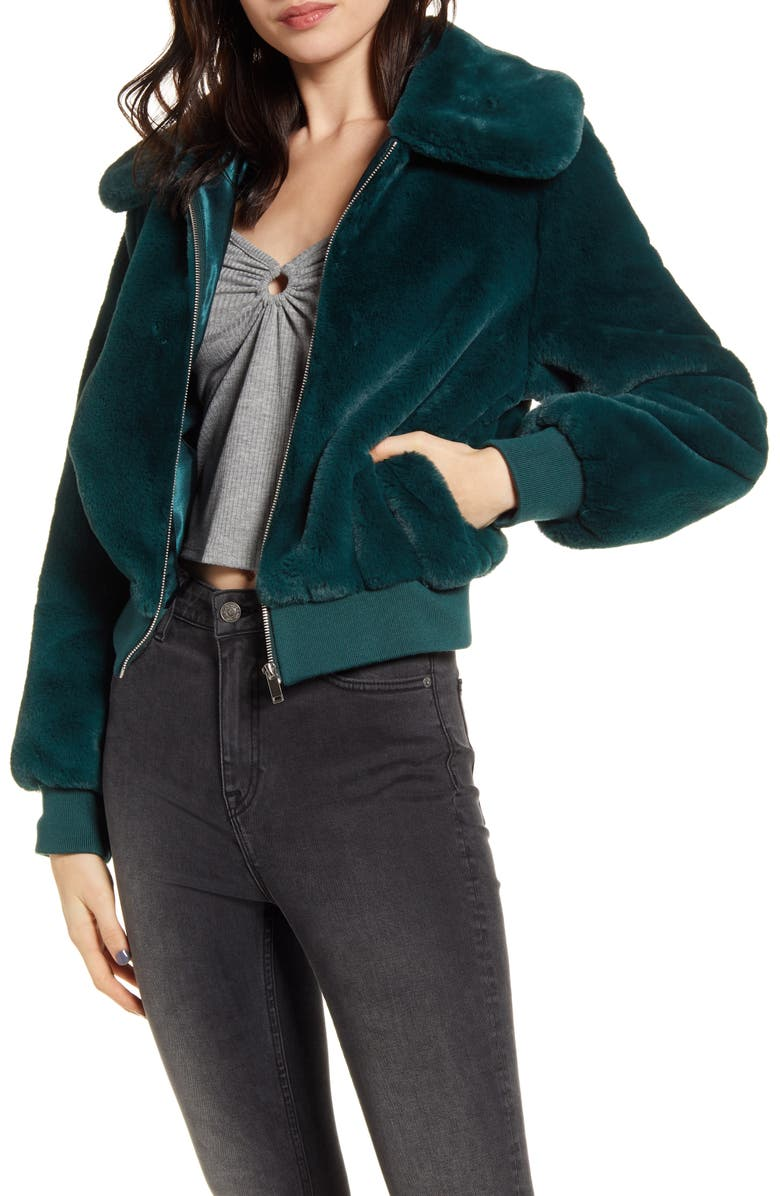 BAND OF GYPSIES Je Tador Faux Fur Bomber Jacket, Main, color, 440