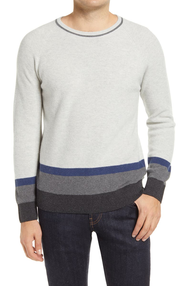 BUGATCHI Stripe Wool & Cashmere Blend Crewneck Sweater, Main, color, OYSTER