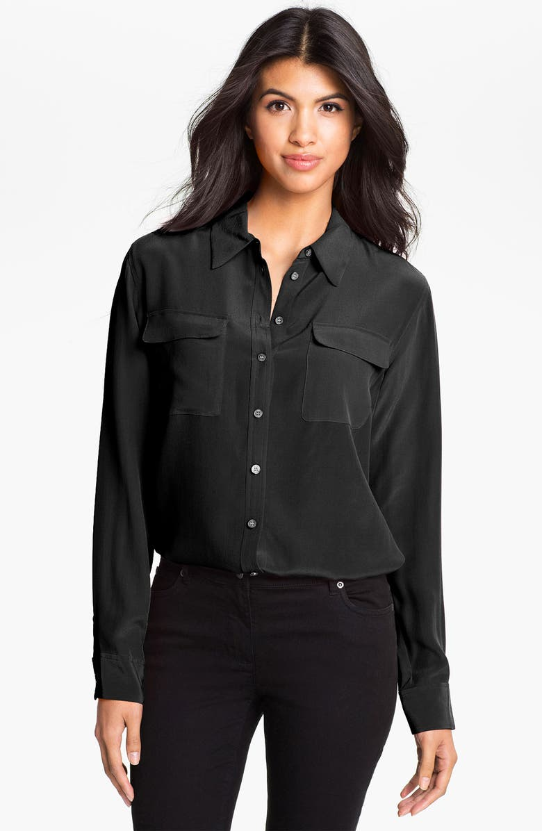 TWO BY VINCE CAMUTO Silk Utility Blouse, Main, color, RICH BLACK