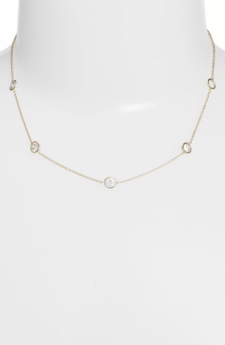 NORDSTROM Bezel Stone Station Necklace, Main, color, CLEAR- GOLD