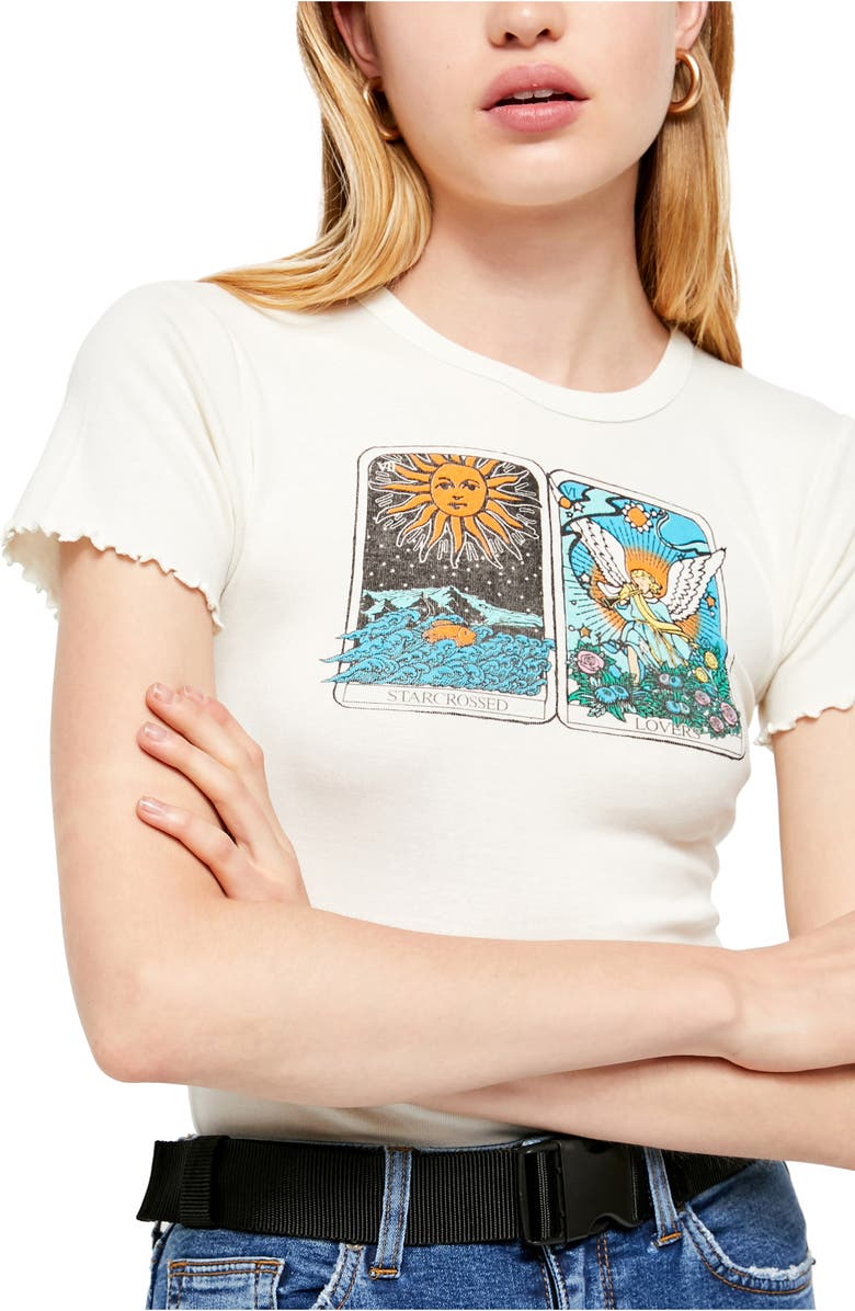 BDG URBAN OUTFITTERS Starcrossed Lovers Graphic Baby Tee, Main, color, 900