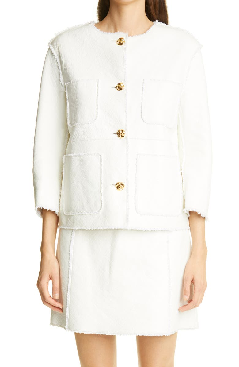 ST. JOHN COLLECTION Leather & Tweed Bonded Jacket, Main, color, White