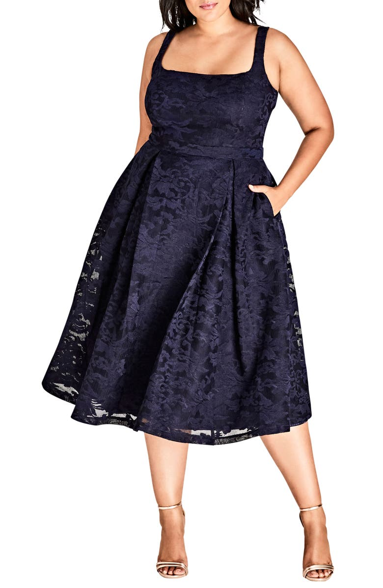 CITY CHIC Jackie O Lace Fit & Flare Dress, Main, color, 435