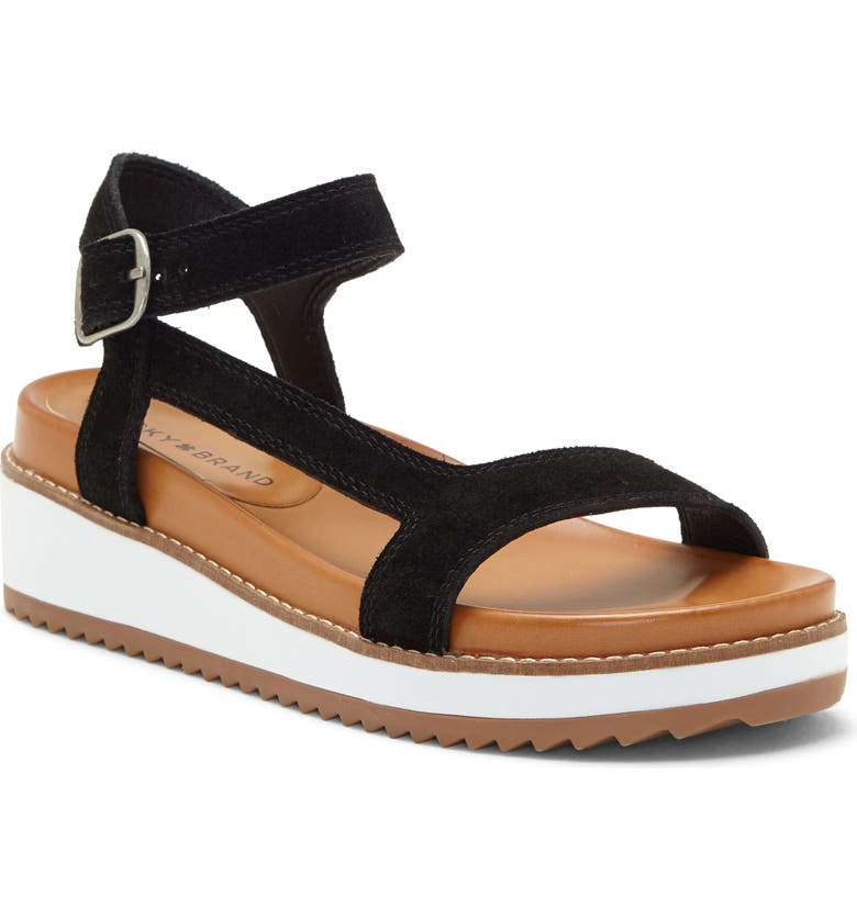 LUCKY BRAND Ibrien Sandal, Main, color, BLACK SUEDE
