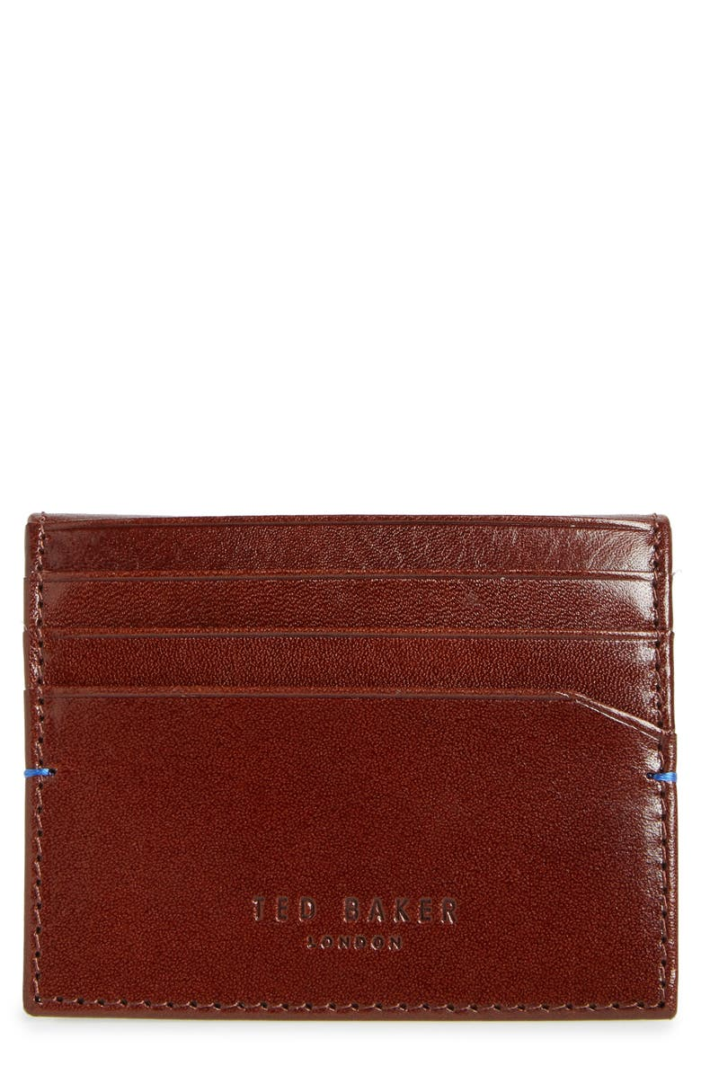TED BAKER LONDON Wooster Leather Card Wallet, Main, color, TAN