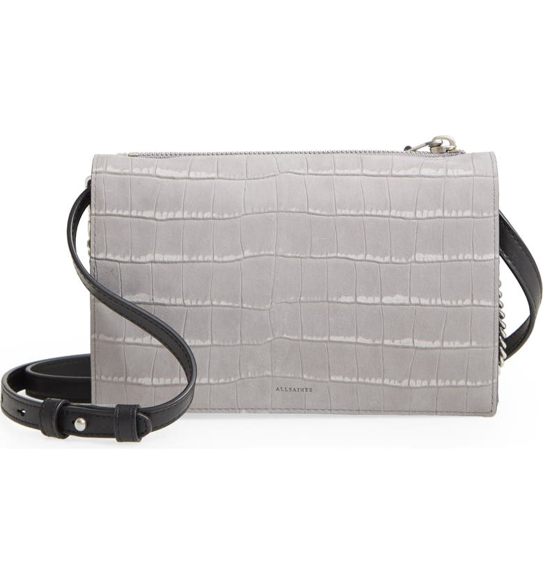 ALLSAINTS Claremont Croc Embossed Leather Crossbody, Main, color, MIST GREY