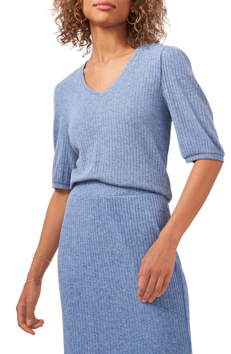 1.STATE Puff Sleeve Rib Knit Top, Main, color, BLUE DENIM HEATHER
