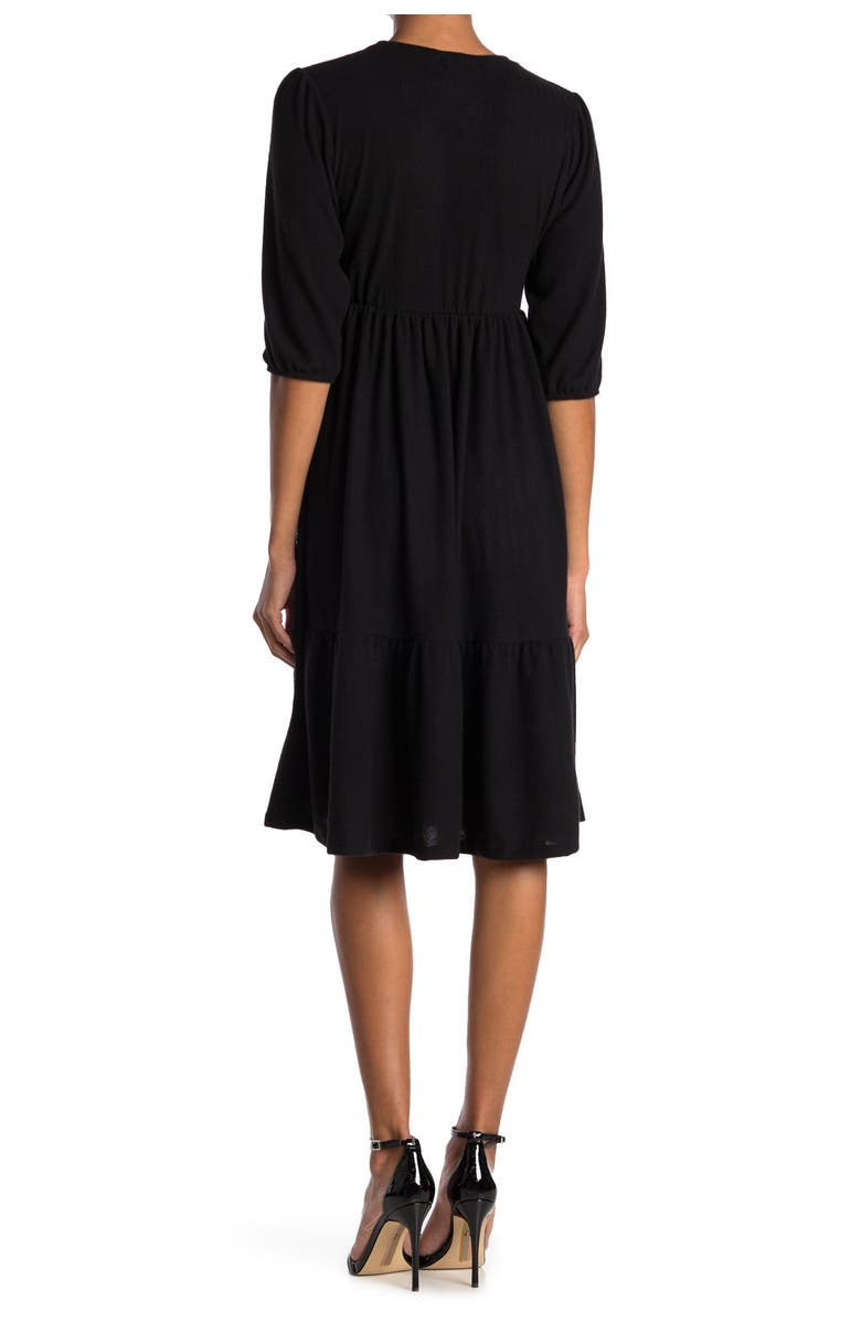 VELVET TORCH Heathered 3/4 Sleeve Tiered Sweater Dress, Main, color, BLACK