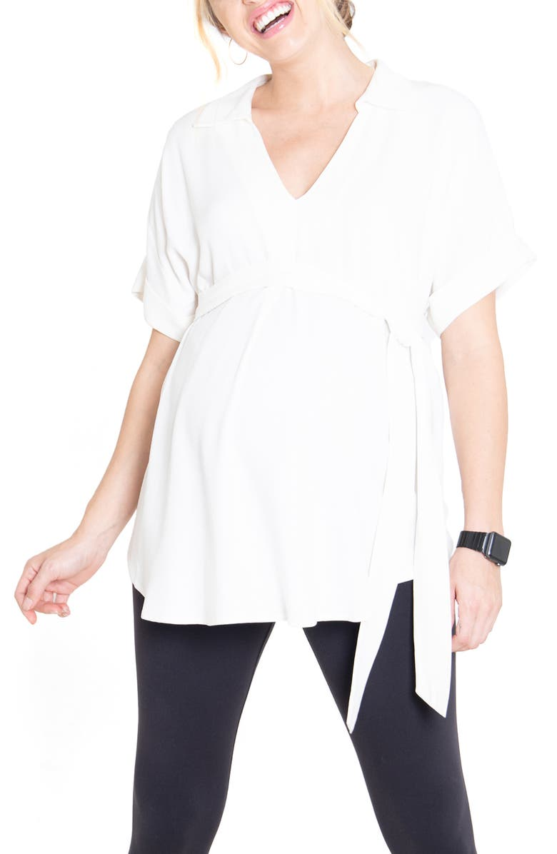 INGRID & ISABEL<SUP>®</SUP> Popover Tie Waist Maternity Top, Main, color, IVORY