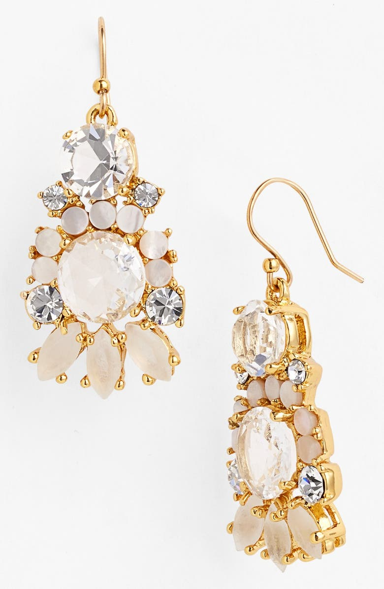 KATE SPADE NEW YORK 'grande bouquet' mixed stone earrings, Main, color, MOTHER OF PEARL MULTI/ GOLD