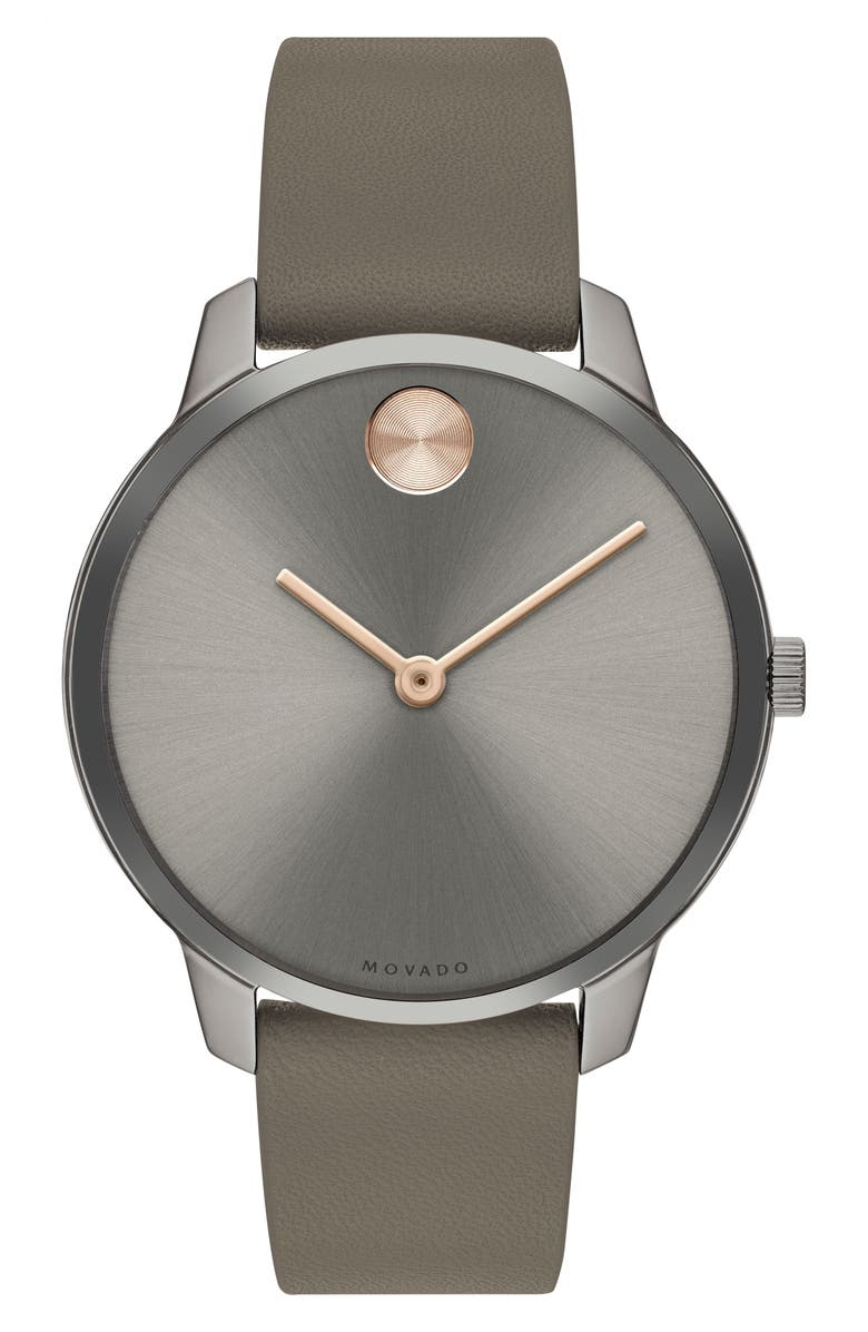 MOVADO Bold Leather Strap Watch, 35mm, Main, color, 250
