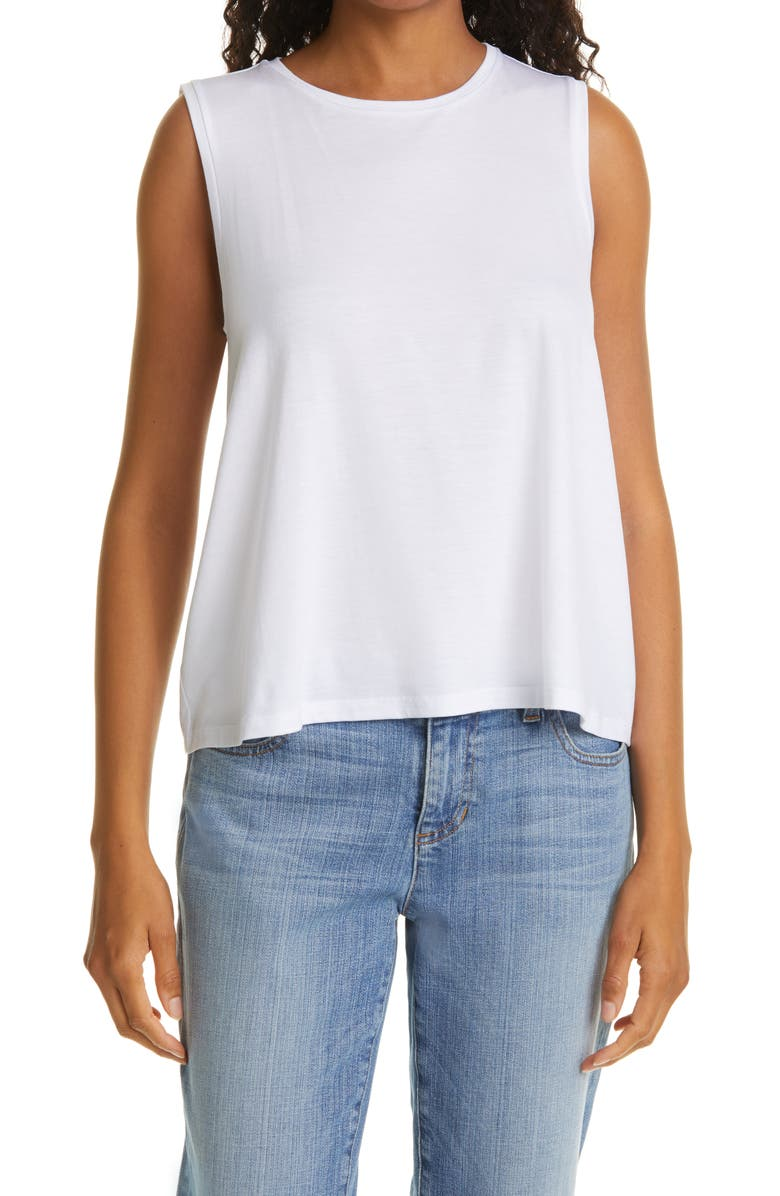 EILEEN FISHER Tencel<sup>®</sup> Lyocell Tank, Main, color, WHITE