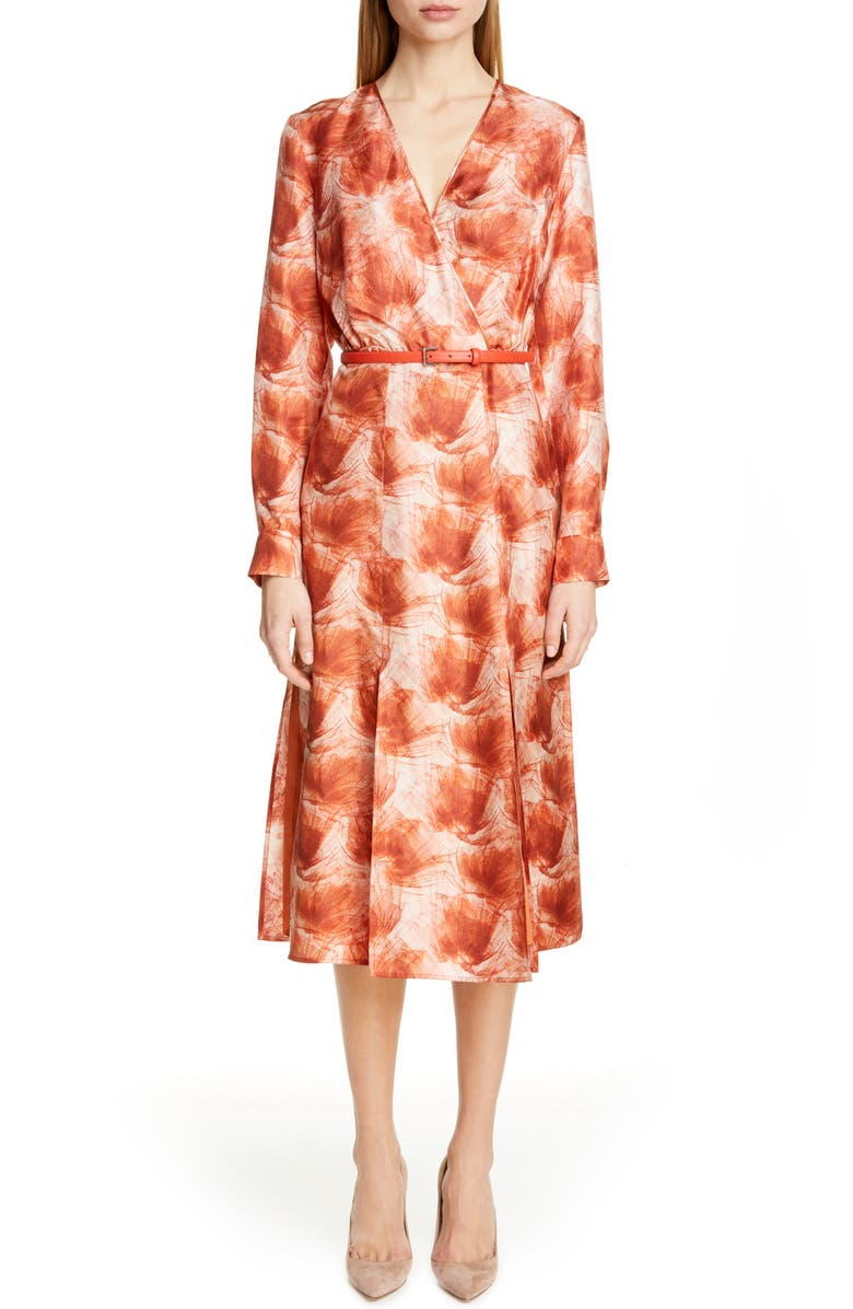 MAX MARA Cenere Belted Long Sleeve Silk Dress, Main, color, 814