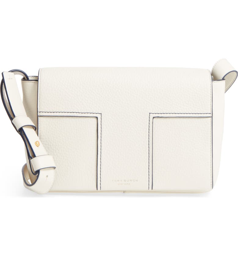 TORY BURCH Block-T Pebbled Leather Shoulder Bag, Main, color, NEW IVORY