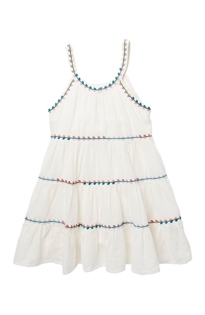 PEEK ARENT YOU CURIOUS Chelsey Tiered Embroidered Trim Dress, Main, color, WHITE