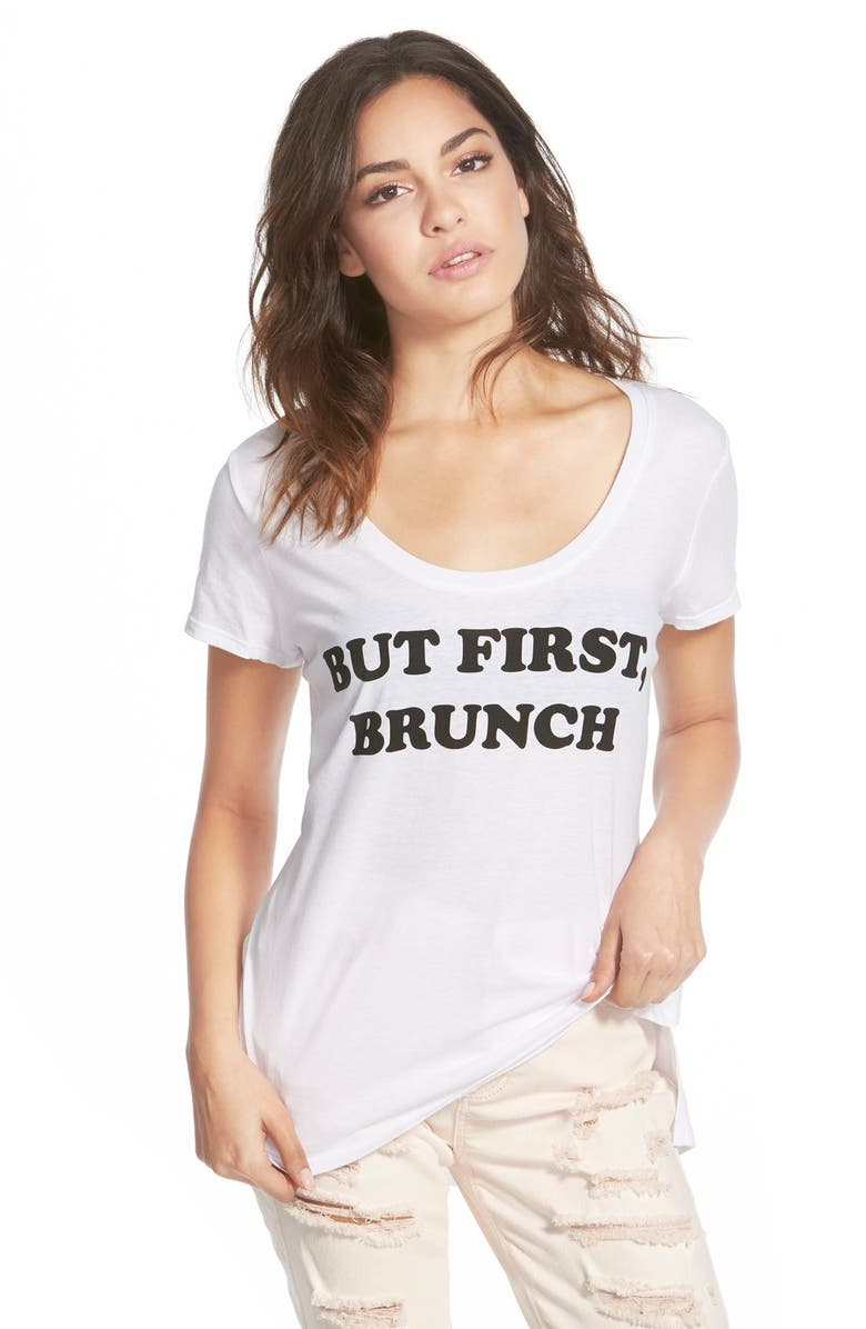 RECYCLED KARMA 'But First, Brunch' Graphic Tee, Main, color, White