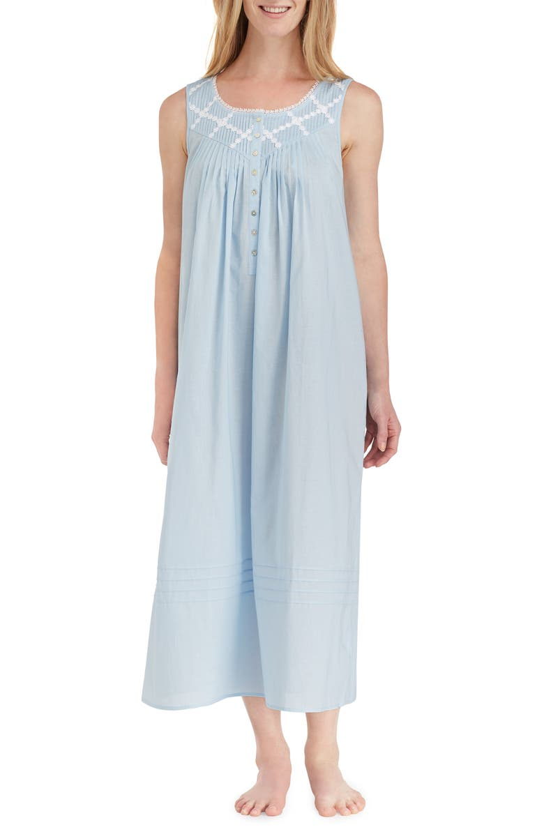 EILEEN WEST Cotton Lawn Ballet Nightgown, Main, color, SOLID BLUE
