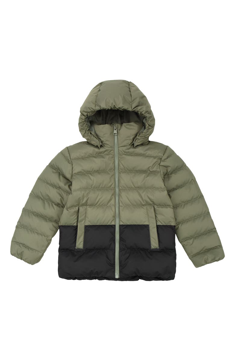 REIMA Kids' Amund Down Water Repellent Hooded Jacket, Main, color, GREYISH GREEN
