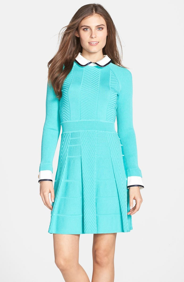 CYNTHIA STEFFE 'Nola' Textured Knit Fit & Flare Shirtdress, Main, color, 457