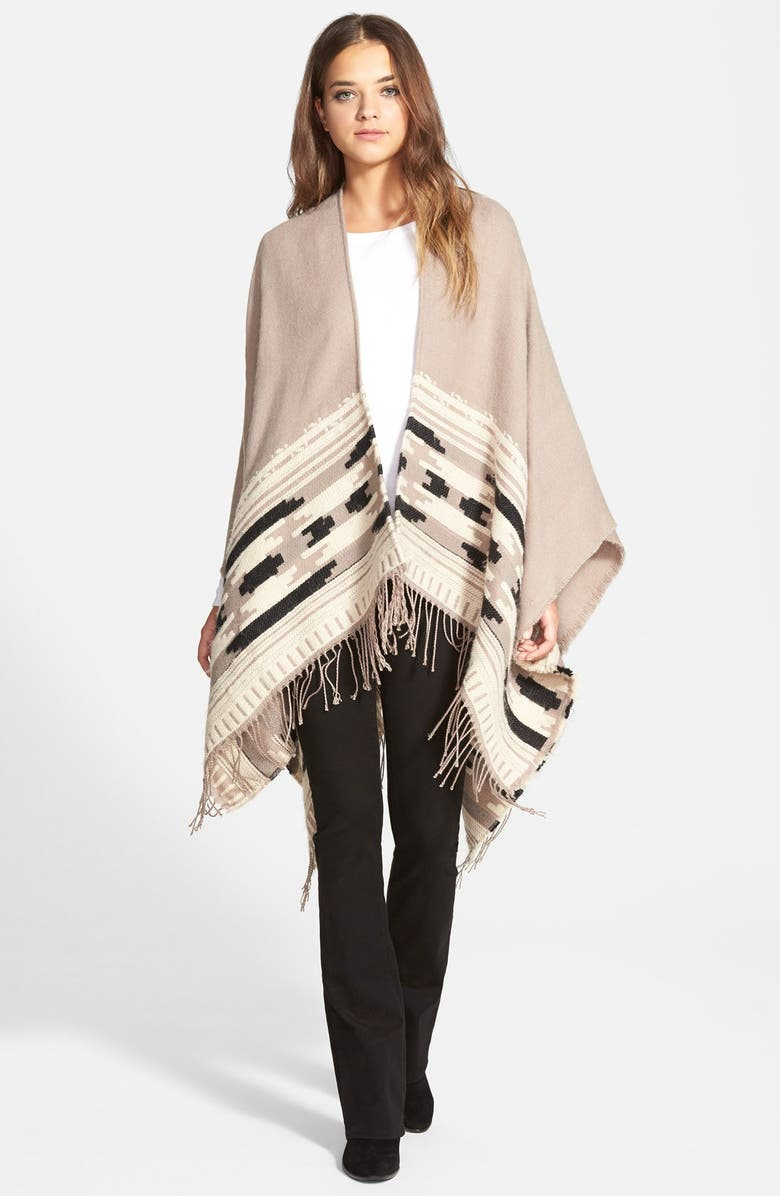 VINCE CAMUTO Geometric Weave Cape, Main, color, TAUPE