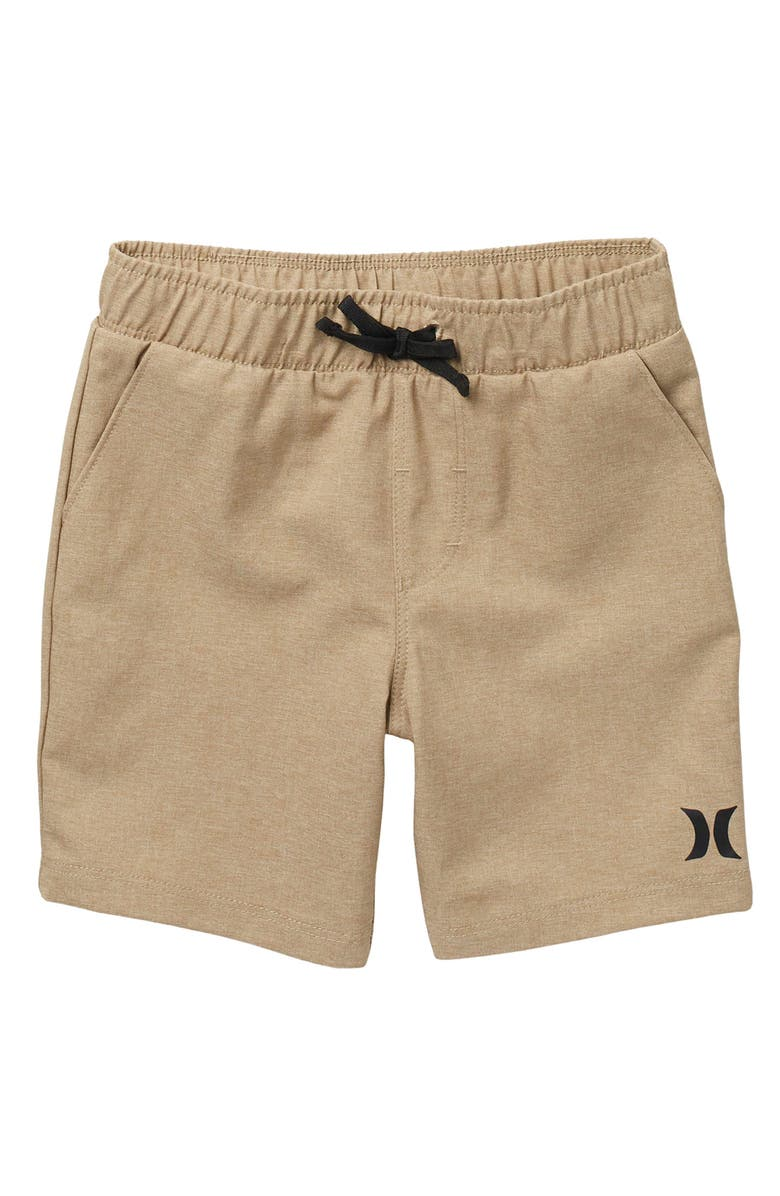 HURLEY Heathered Hybrid Pull-On Shorts, Main, color, CEMENT