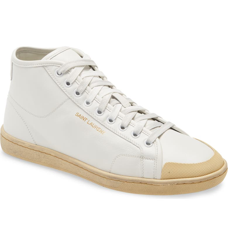 SAINT LAURENT Court Classic Mid Top Sneaker, Main, color, 110