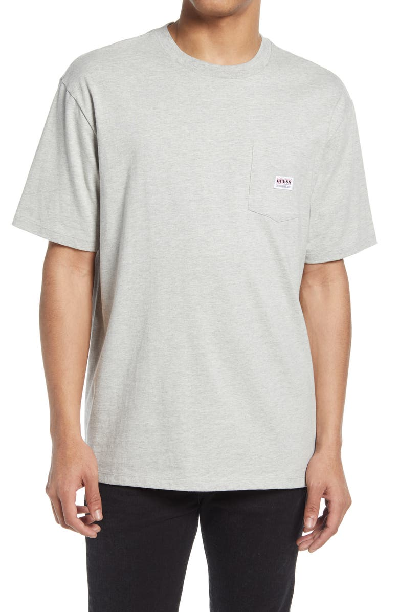 GUESS Men's Heathered Pocket T-Shirt, Main, color, LIGHT HEATHER GREY M90