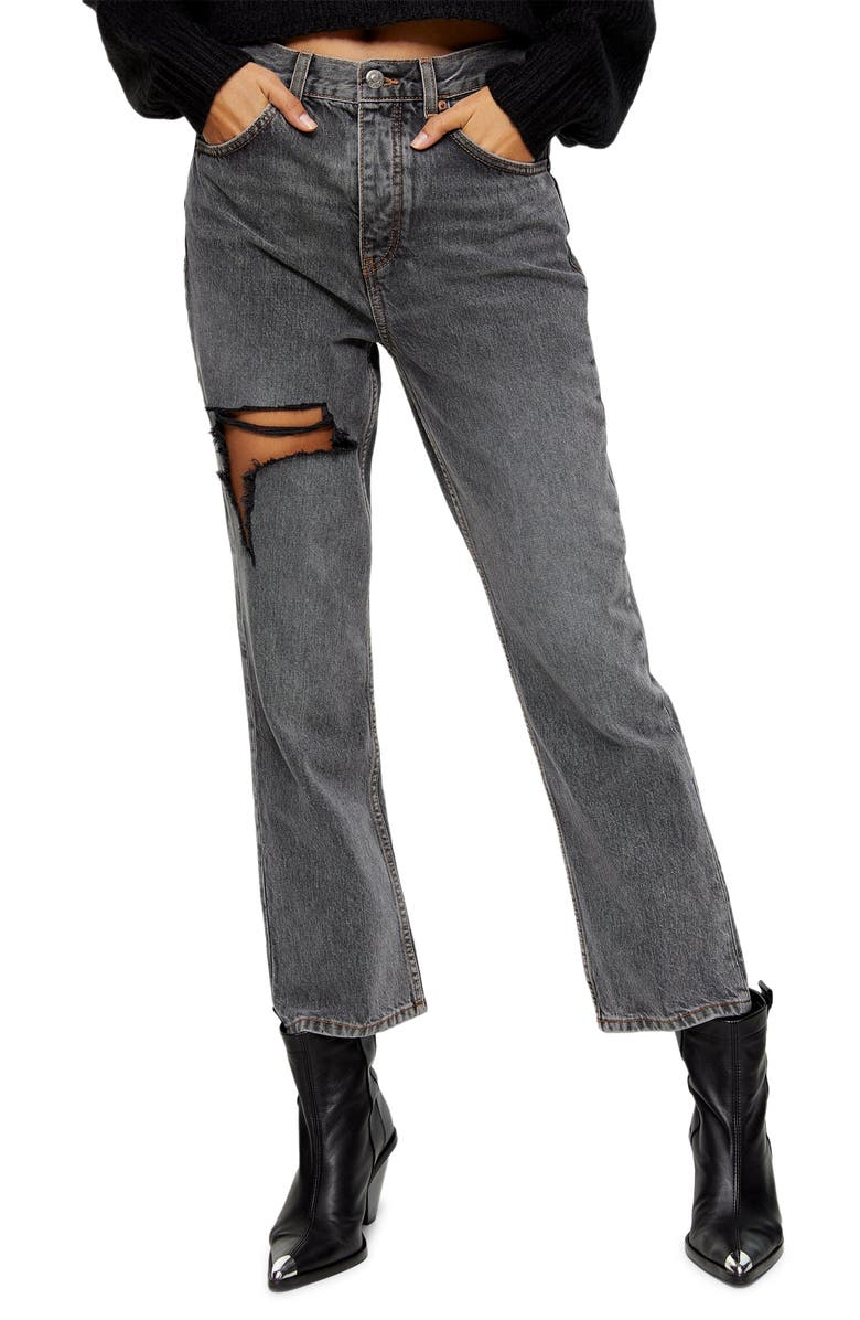 TOPSHOP Ohio Ripped Straight Leg Jeans, Main, color, 020