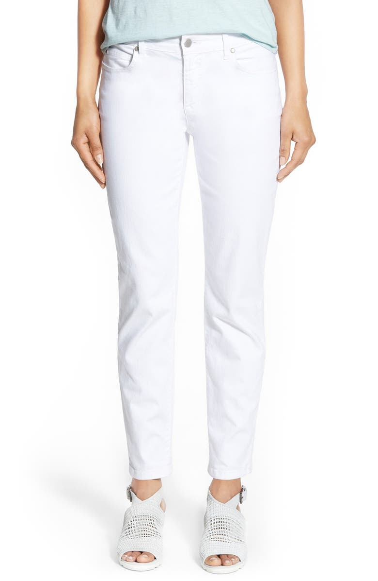 EILEEN FISHER Garment Dyed Stretch Ankle Skinny Jeans, Main, color, White