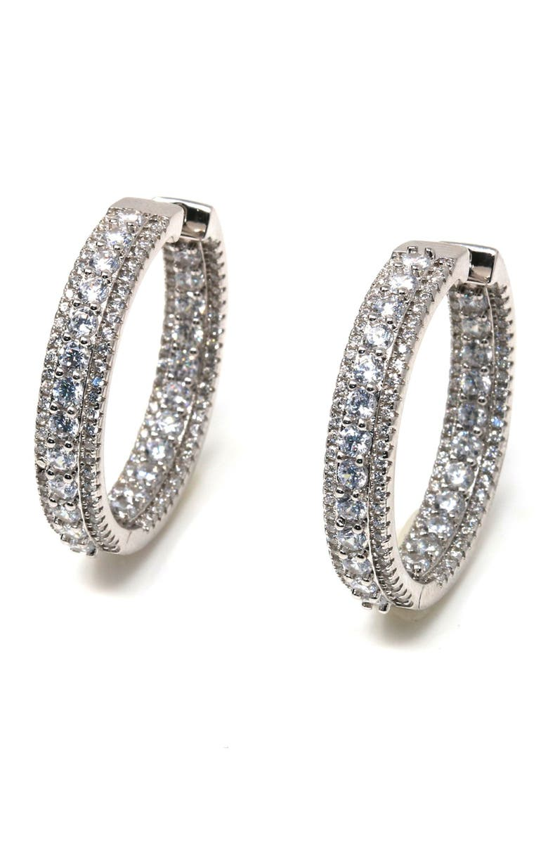 SUZY LEVIAN Cubic Zirconia Pave Hoop Earrings, Main, color, WHITE