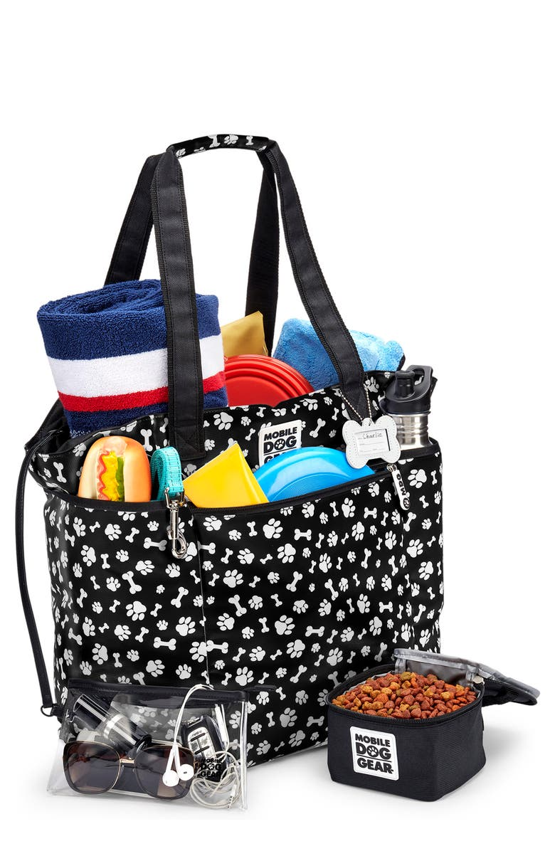 MOBILE DOG GEAR <sup>™</sup> Dogssentials Tote, Main, color, BLACK W/ WHITE PAW PRINT