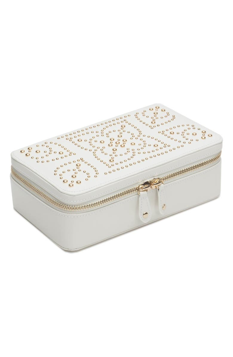 WOLF 'Marrakesh' Zip Jewelry Case, Main, color, CREAM