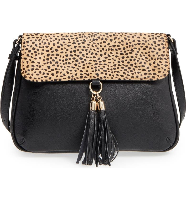 SOLE SOCIETY 'Noble' Faux Leather & Genuine Calf Hair Shoulder/Crossbody Bag, Main, color, LEOPARD