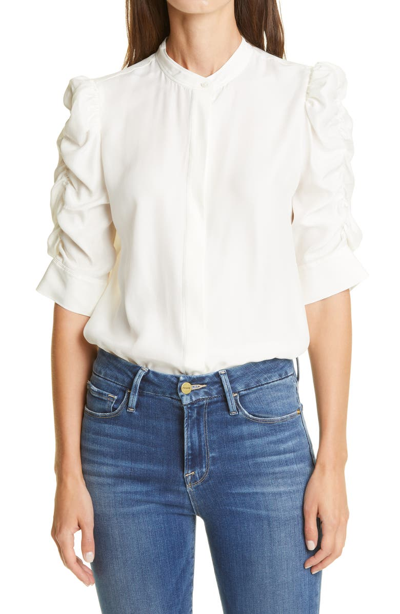 FRAME Shirred Sleeve Silk Blouse, Main, color, OFF WHITE