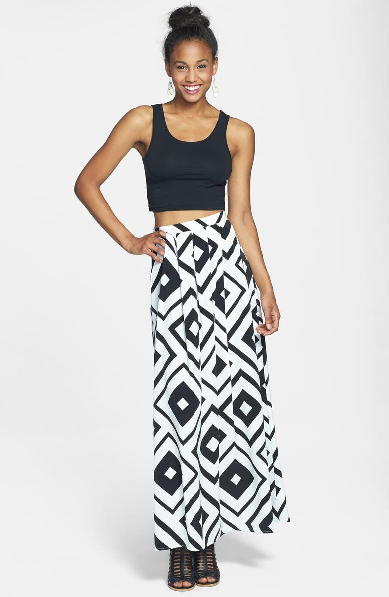PAINTED THREADS Pleat Maxi Skirt, Main, color, BLACK/ WHITE