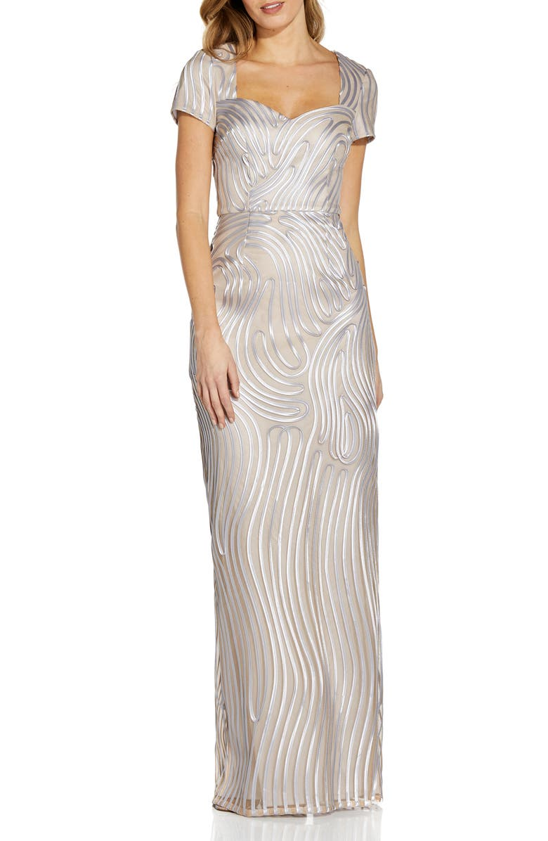 ADRIANNA PAPELL Ribbon Embroidery Column Gown, Main, color, SILVER/ NUDE