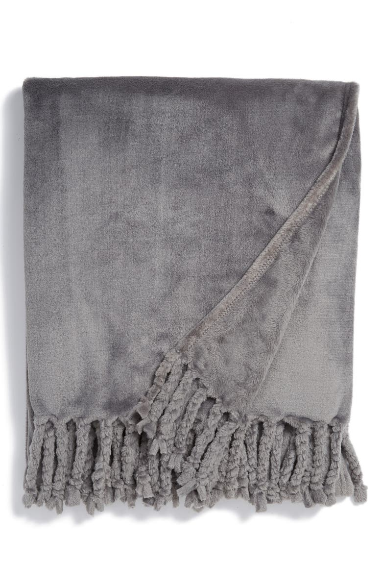 NORDSTROM Bliss Plush Throw, Main, color, GREY FROST