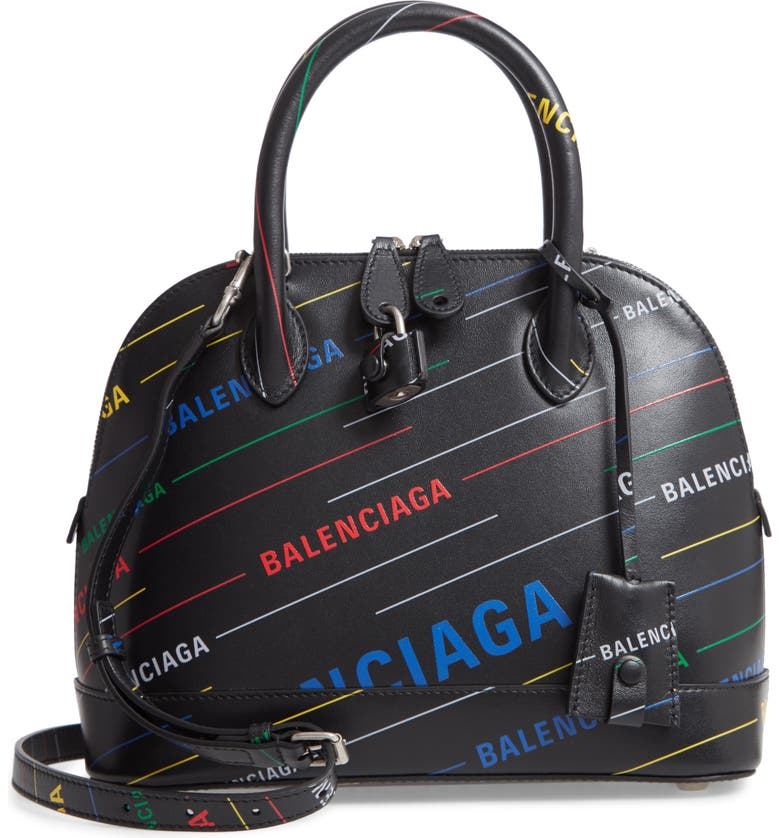 BALENCIAGA Small Ville Logo Calfskin Satchel, Main, color, 006