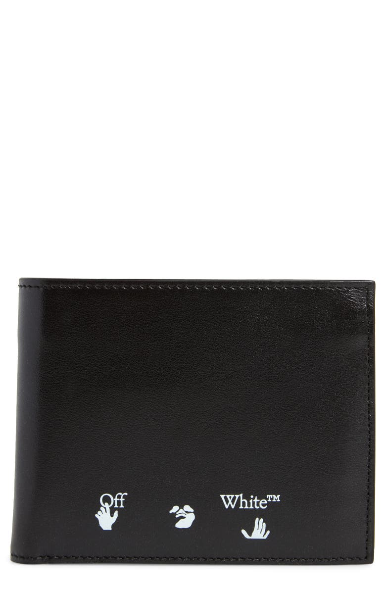 OFF-WHITE Shadow Logo Bifold Leather Wallet, Main, color, 001