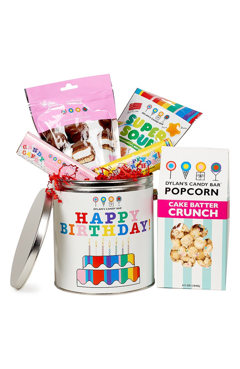 DYLAN'S CANDY BAR Happy Birthday Bucket, Main, color, WHITE