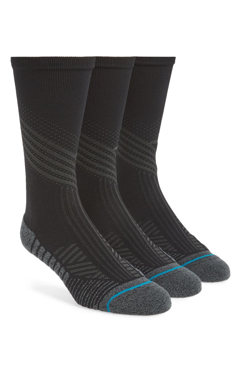 STANCE Assorted 3-Pack Athletic Crew Socks, Main, color, BLACK