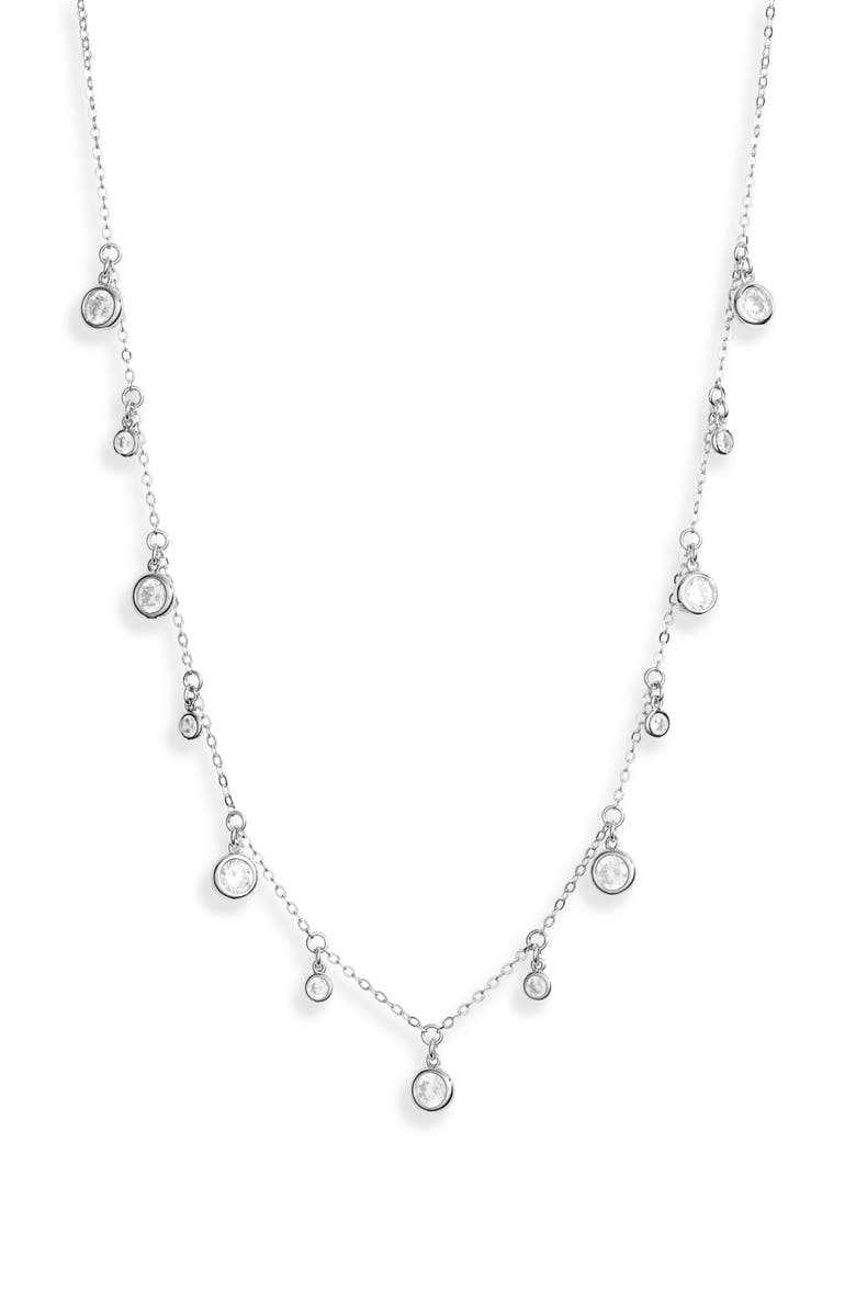 NORDSTROM Shaker Crystal Necklace, Main, color, CLEAR- SILVER