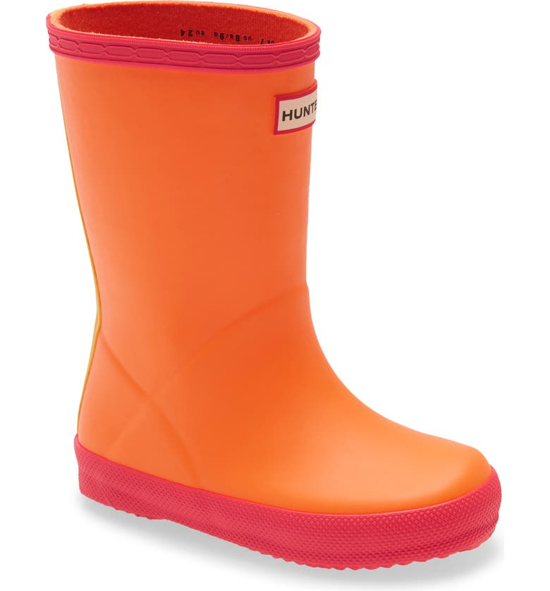 HUNTER First Classic Waterproof Rain Boot, Main, color, CARAMEL ORANGE/ HELIOS