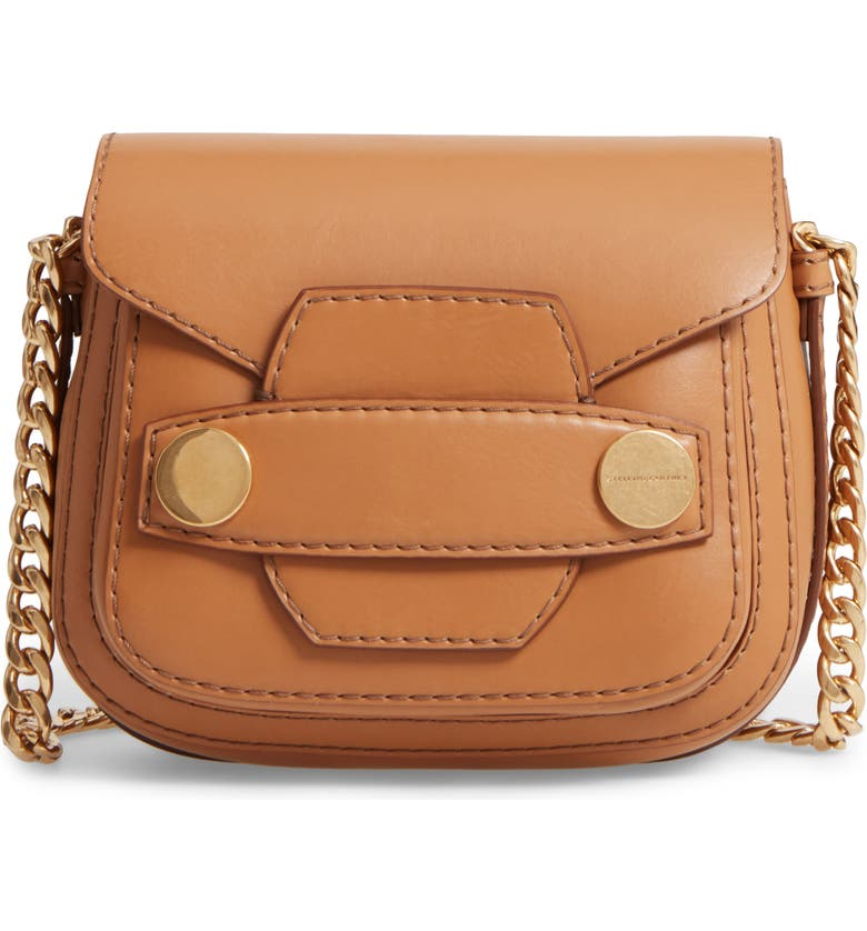 STELLA MCCARTNEY Textured Faux Leather Crossbody Bag, Main, color, CAMEL