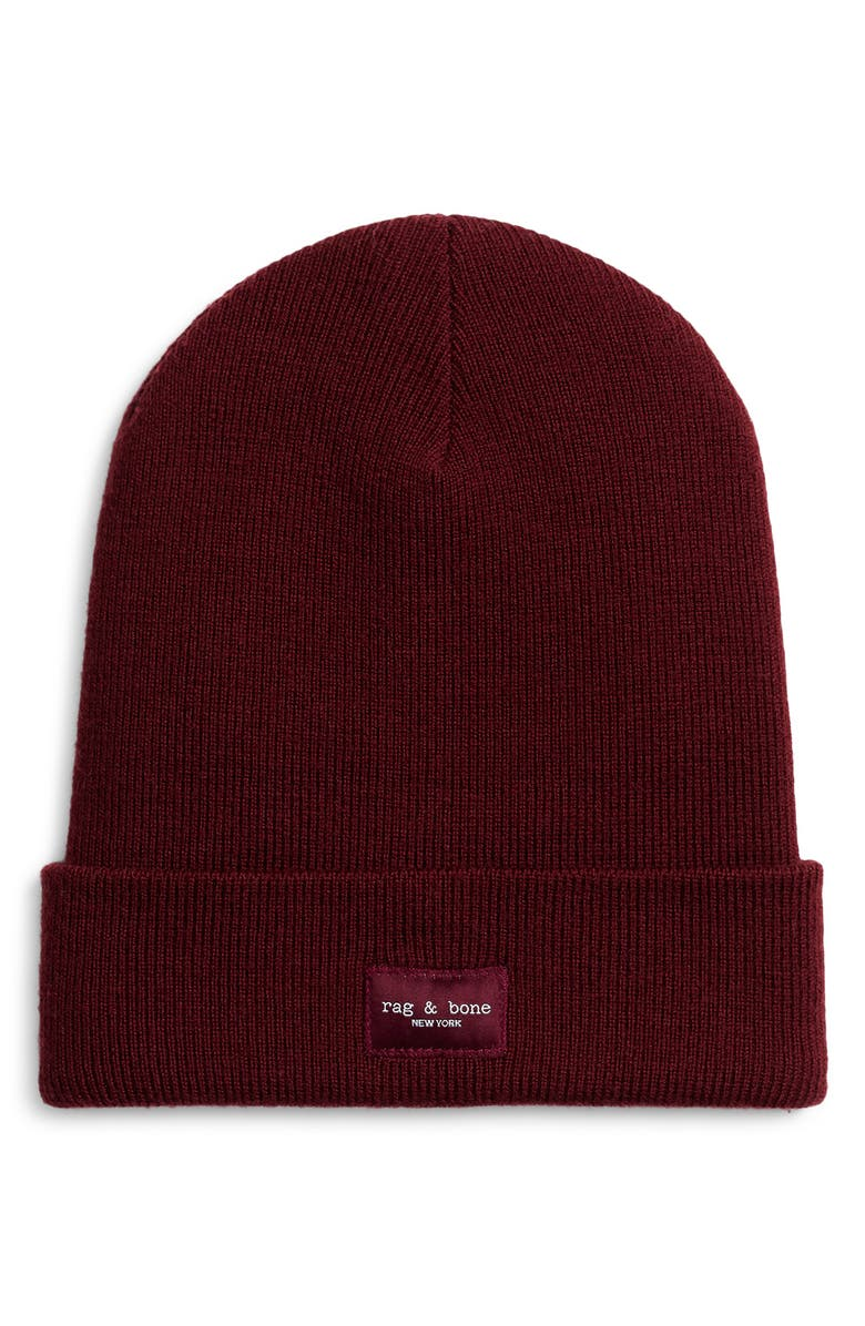 RAG & BONE Addison Merino Wool Beanie, Main, color, WINE