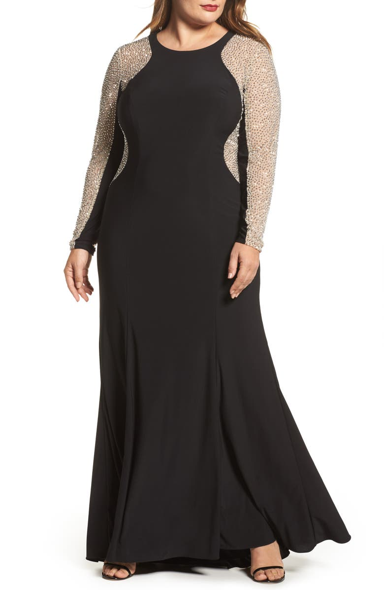 XSCAPE Embellished Jersey Gown, Main, color, 001