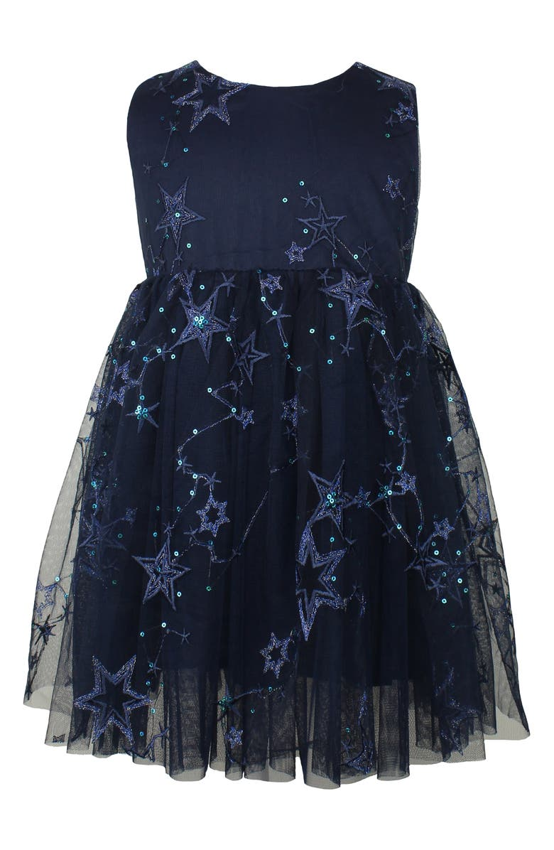 POPATU Embroidered Star Tulle Dress, Main, color, NAVY