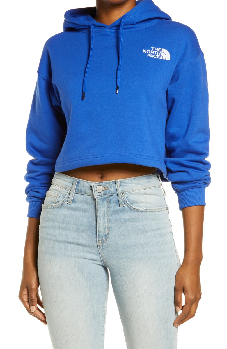 THE NORTH FACE Logo Crop Hoodie, Main, color, TNF BLUE